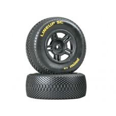 DuraTrax Lineup SC Tire C2 w/5-Spoke Wheels (Black)