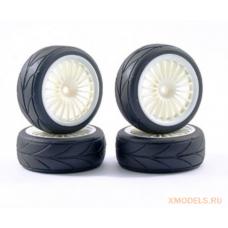 Fastrax 15-Spoke Touring Car Wheel & Tyre Set (4) - White