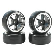 Fastrax 5-Spoke Drift Wheel Set (Black/Chrome)
