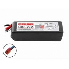 Литий-полимерный аккумулятор (с индикатором заряда) LiPo 6S 22.2V 5300mAh 50C (Deans Plug)