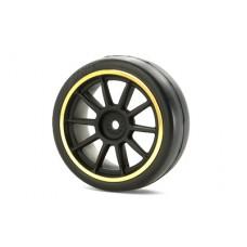 Tamiya 10 Spoke Wheels 24mm (Black/Gold)